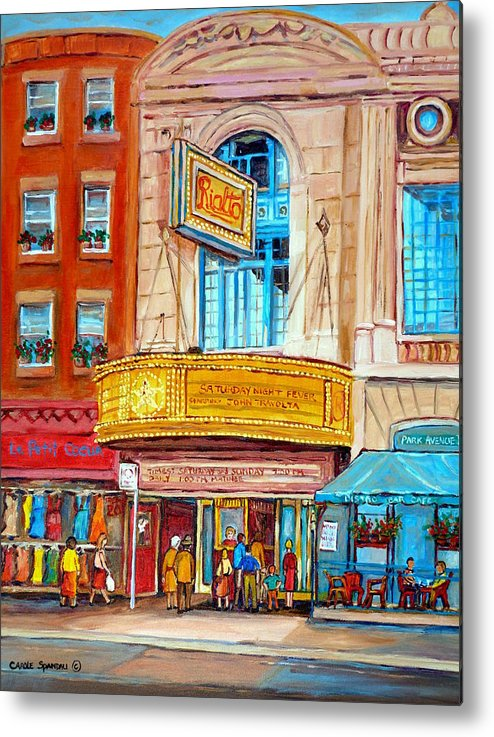 Montreal Metal Print featuring the painting The Rialto Theatre Montreal by Carole Spandau