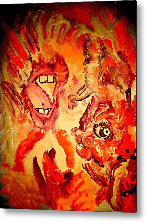 Seven Sins Art Metal Print featuring the painting The Seven Sins Gluttony by Colleen Ranney