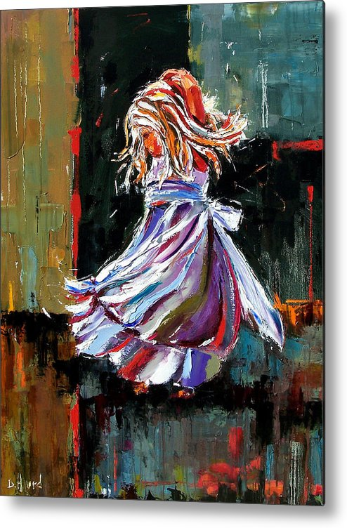 Girl Metal Print featuring the painting The Twirl by Debra Hurd