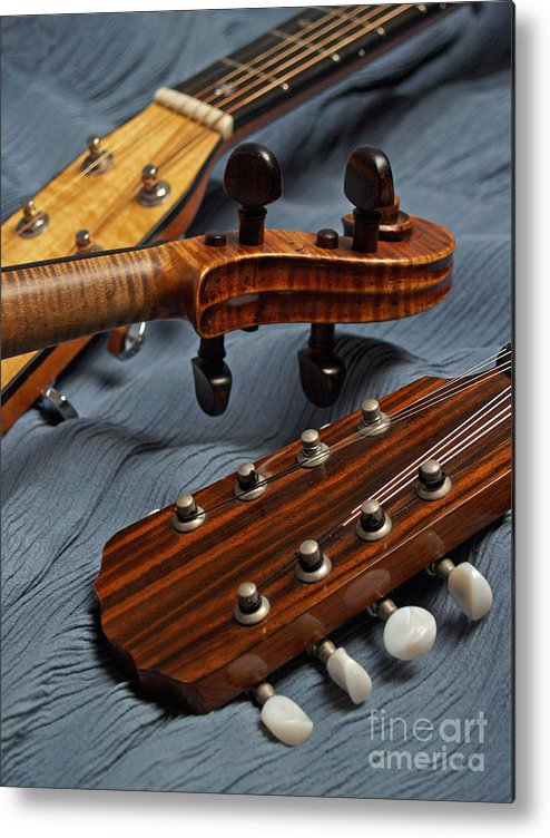 Guitar Metal Print featuring the photograph Three Musical Instrument Heads on Blue by Anna Lisa Yoder