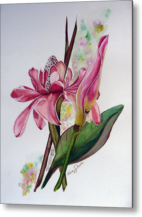 Flower Painting Floral Painting Botanical Painting Flowering Ginger. Metal Print featuring the painting Torch Ginger Lily by Karin Dawn Kelshall- Best