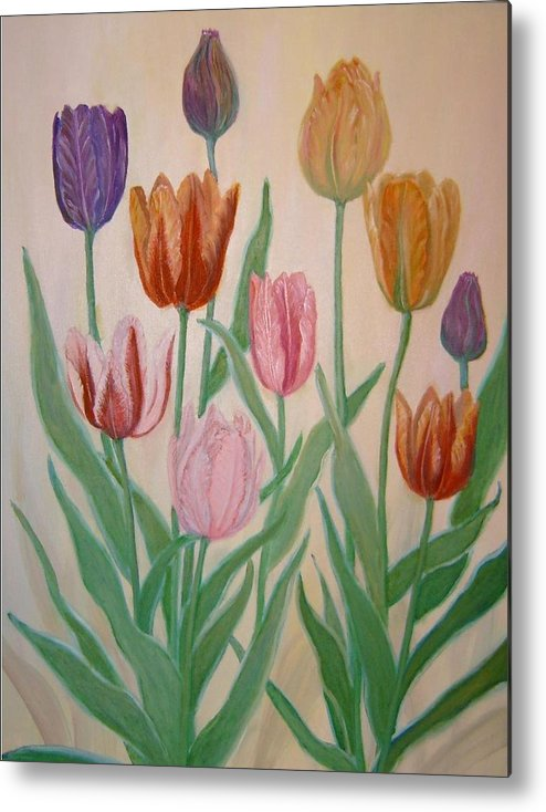 Flowers Of Spring Metal Print featuring the painting Tulips by Ben Kiger