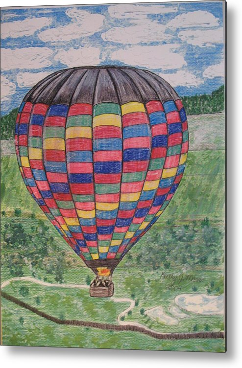 Balloon Ride Metal Print featuring the painting Up Up And Away by Kathy Marrs Chandler