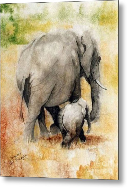 Elephants Metal Print featuring the painting Vanishing Thunder Series - Mama and Baby Elephant by Suzanne Schaefer