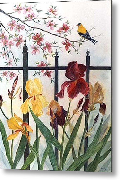 Irises; American Goldfinch; Dogwood Tree Metal Print featuring the painting Victorian Garden by Ben Kiger