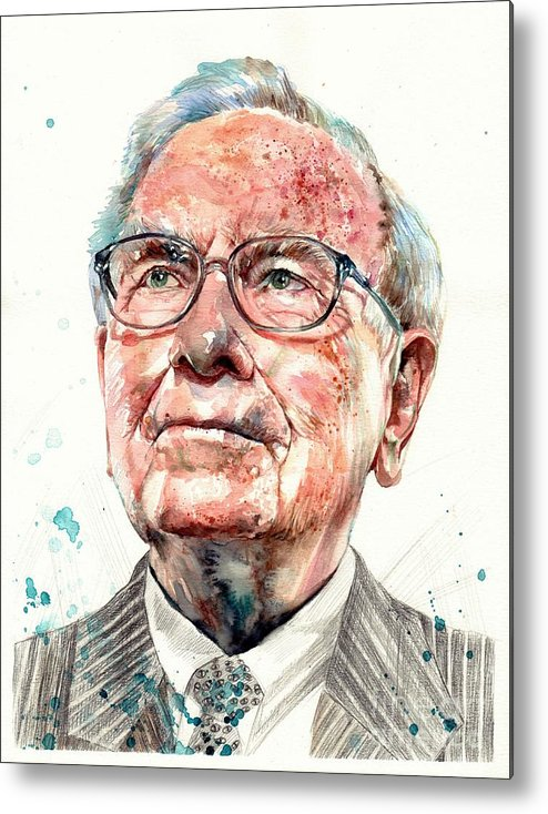 Warren Metal Print featuring the painting Warren Buffett portrait by Suzann Sines