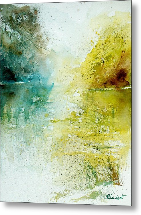 Pond Nature Landscape Metal Print featuring the painting Watercolor 24465 by Pol Ledent
