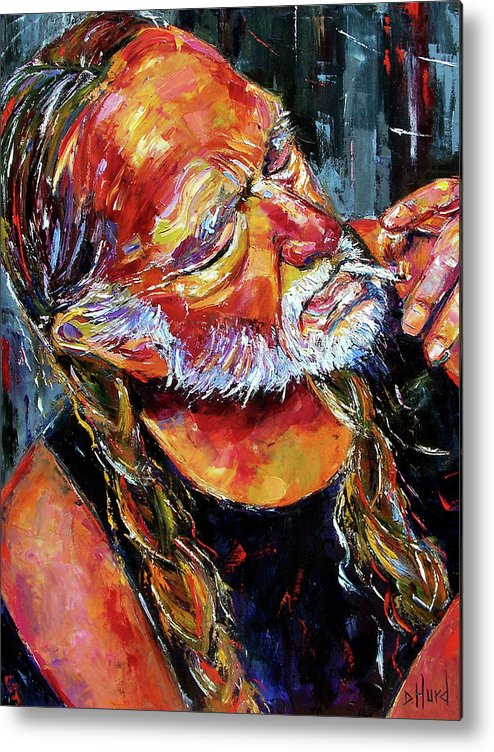 Willie Nelson Metal Print featuring the painting Willie Nelson Booger Red by Debra Hurd