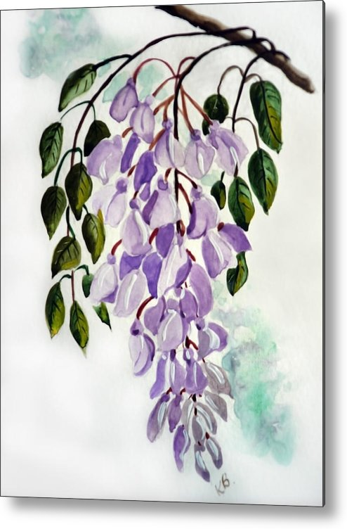 Floral Paintings Flower Paintings Wisteria Paintings Botanical Paintings Flower Purple Paintings Greeting Card Paintings  Metal Print featuring the painting Wisteria by Karin Dawn Kelshall- Best
