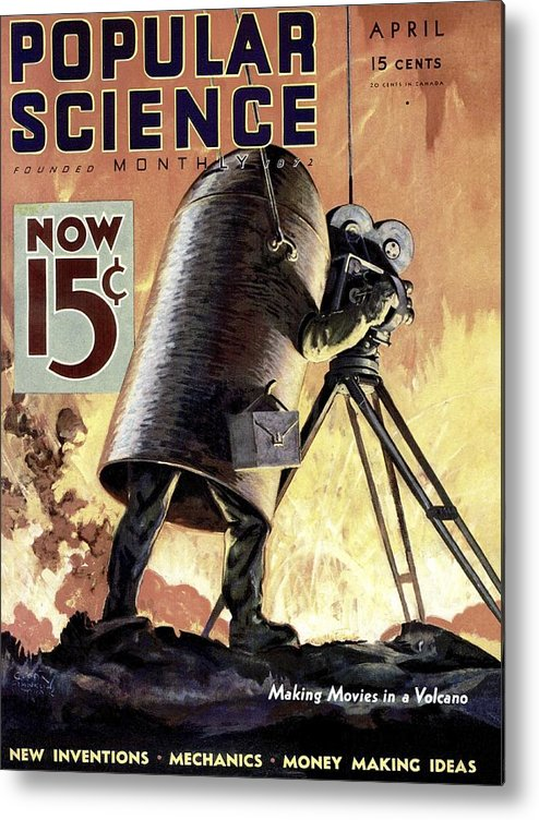 Magazine Cover Metal Print featuring the photograph Popular Science Magazine Covers by Popular Science