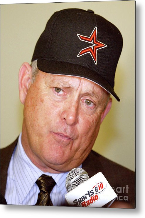 Minute Maid Park Metal Print featuring the photograph Houston Astros Sign Nolan Ryan To by Bob Levey