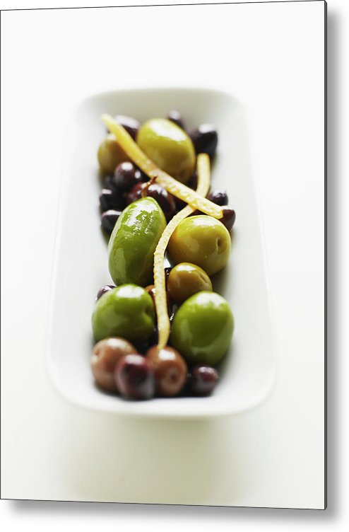 White Background Metal Print featuring the photograph Appetizer Of Warm Marinated Olives by Thomas Barwick