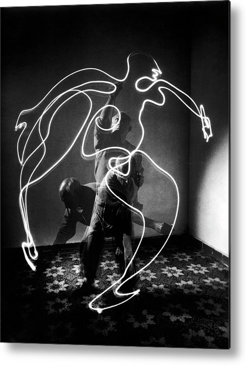 Artist Metal Print featuring the photograph Artist Pablo Picasso Painting With by Gjon Mili