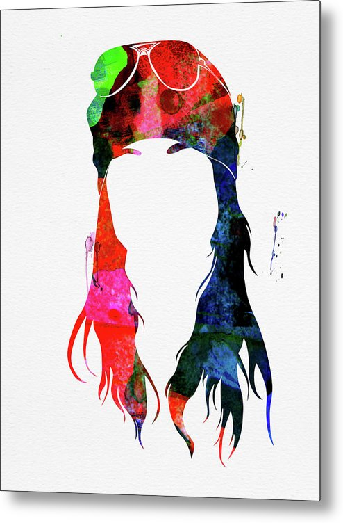 Axl Rose Metal Print featuring the mixed media Axl Rose Watercolor by Naxart Studio