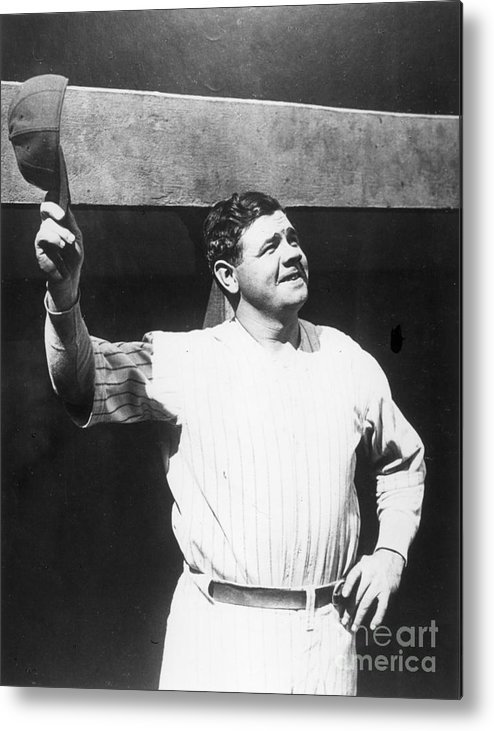 People Metal Print featuring the photograph Babe Ruth Salutes The Crowd by Transcendental Graphics