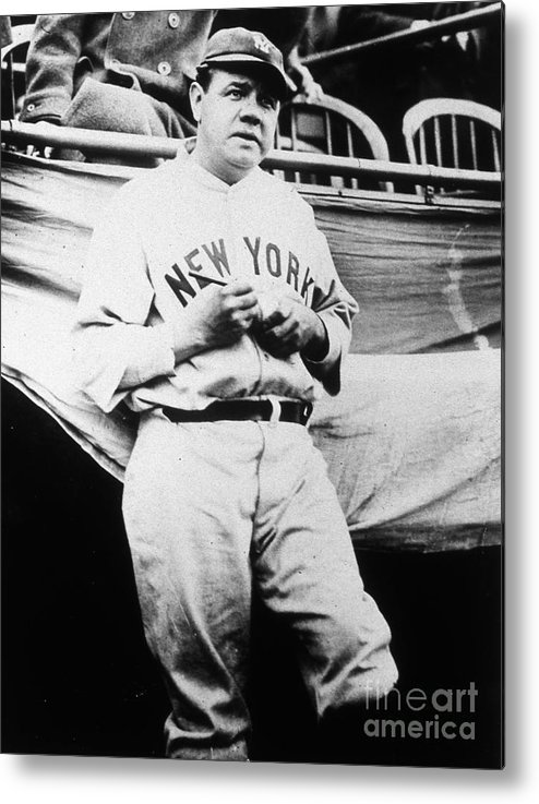 People Metal Print featuring the photograph Babe Ruth Signing Ball by Transcendental Graphics