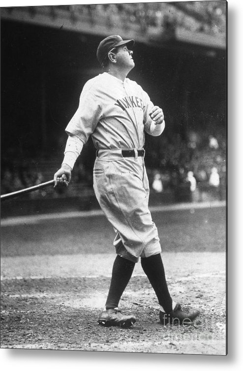 People Metal Print featuring the photograph Babe Ruth Watches One Fly by Transcendental Graphics