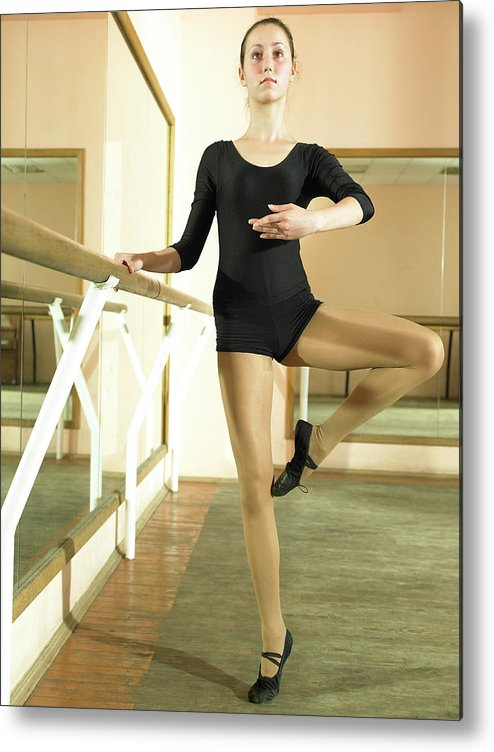Ballet Dancer Metal Print featuring the photograph Ballet Dancer 13-14 Practicing In Dance by Hans Neleman