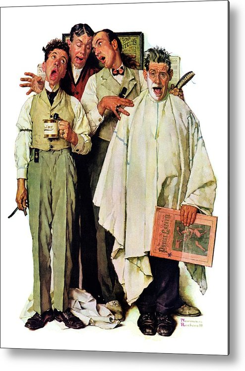 Barbers Metal Print featuring the drawing Barbershop Quartet by Norman Rockwell
