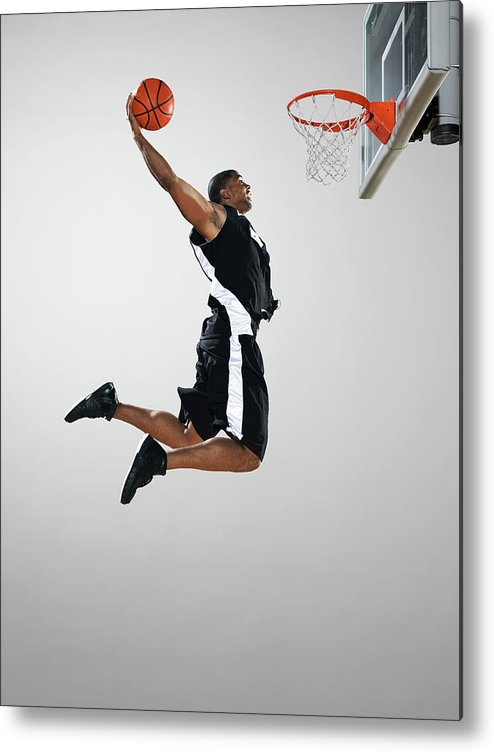 People Metal Print featuring the photograph Basketball Player Dunking Ball, Low by Blake Little