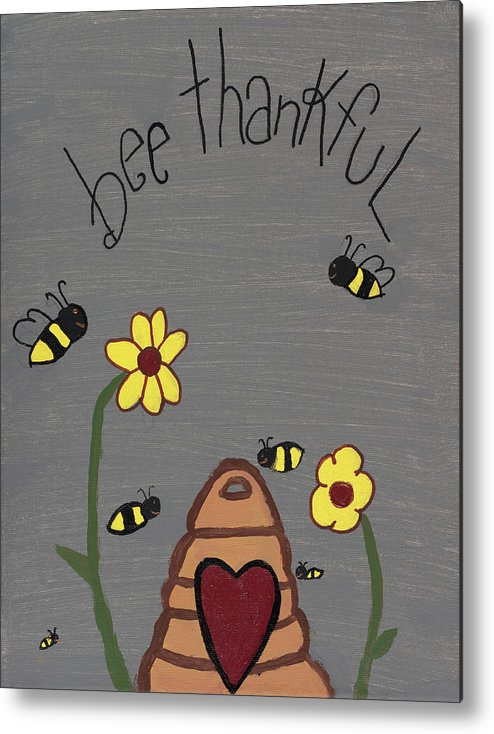 Bee Thankful Metal Print featuring the photograph Bee Thankful by Nina Marie
