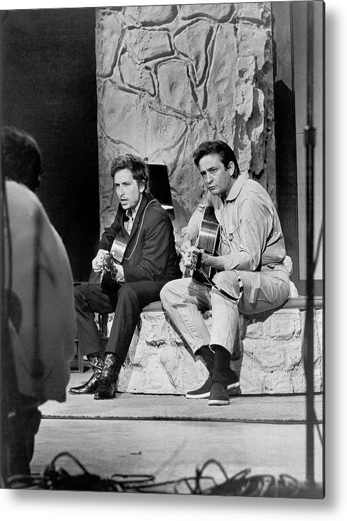 Music Metal Print featuring the photograph Bob Dylan & Johnny Cash by Michael Ochs Archives
