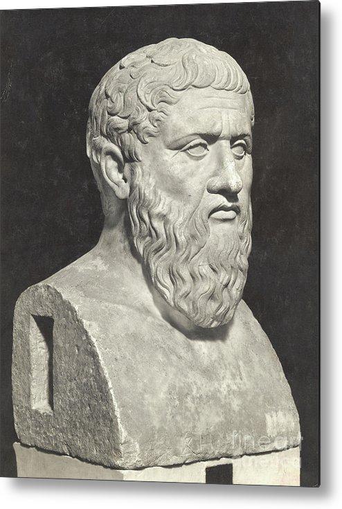 Art Metal Print featuring the photograph Bust Of Grecian Philosopher Plato by Bettmann