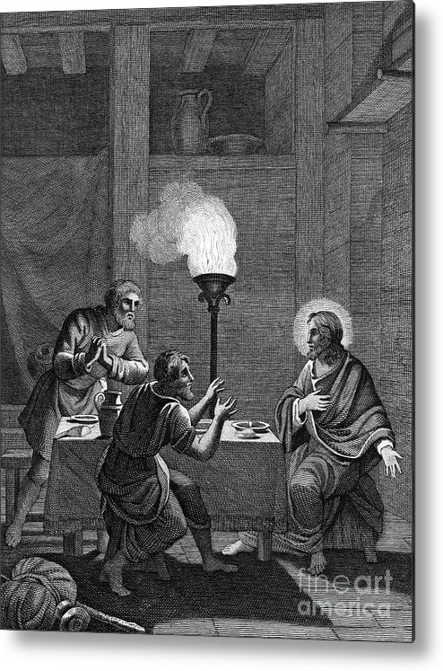 Engraving Metal Print featuring the drawing Christ And The Two Disciples At Emmaus by Print Collector