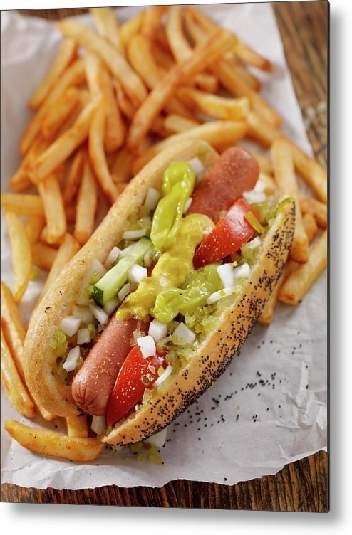 Pub Food Metal Print featuring the photograph Classic Chicago Dog With Fries by Lauripatterson
