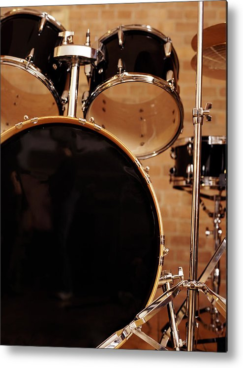 Microphone Stand Metal Print featuring the photograph Close-up Of A Drum Kit by Digital Vision.