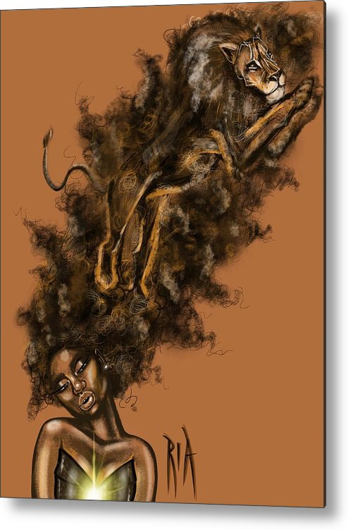 Lion Metal Print featuring the painting Courageous Me by Artist RiA