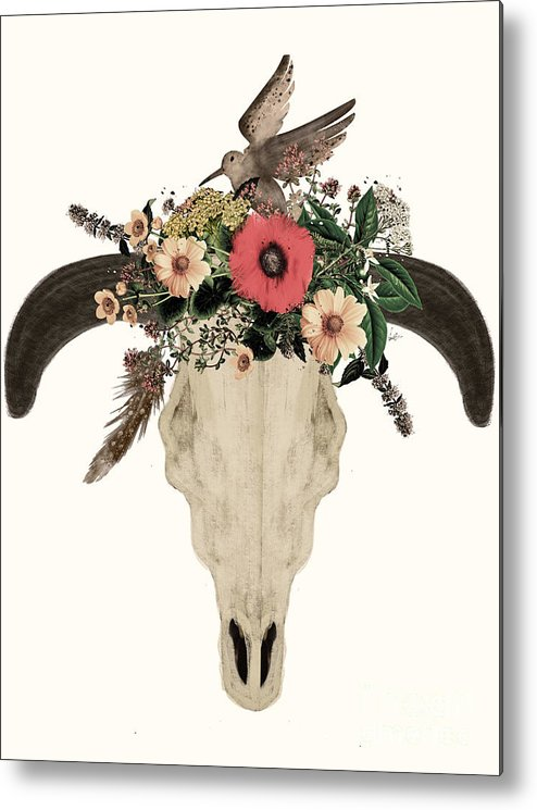 Cow Skull Metal Print featuring the painting Cow Skull Flowers by Bri Buckley