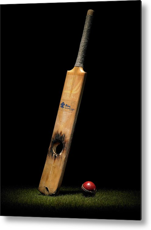 Team Sport Metal Print featuring the photograph Cricket Bat With Hole And Ball by Phil Ashley
