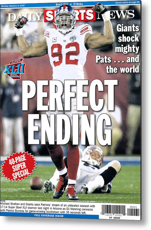Shock Metal Print featuring the photograph Daily News Back Page Feb. 4, 2008 by New York Daily News Archive