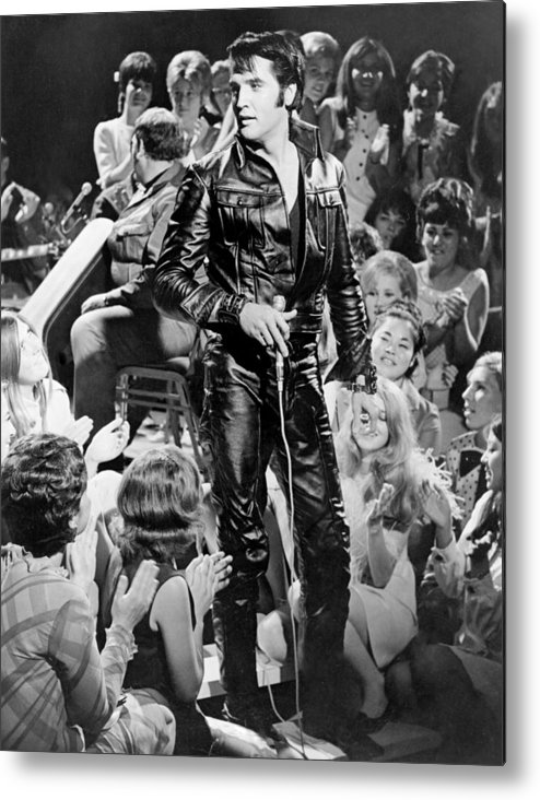 Music Metal Print featuring the photograph Elvis Presley 68 Comeback Special by Michael Ochs Archives