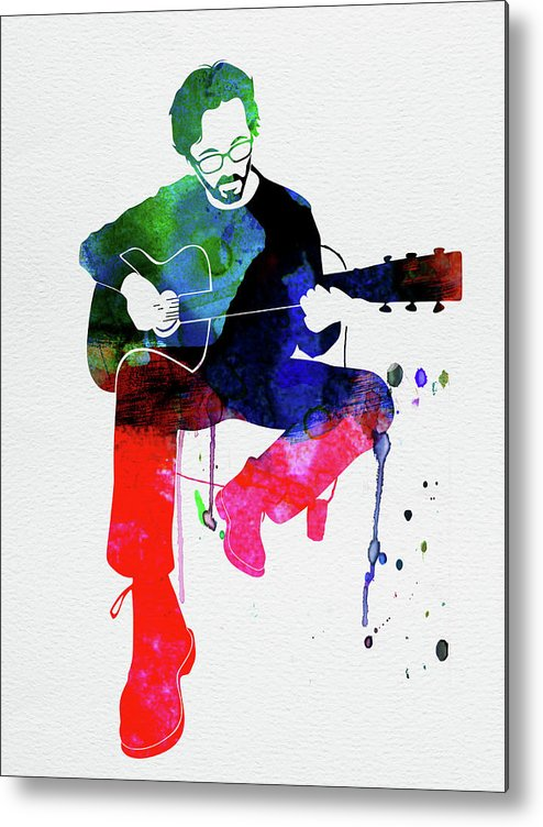 Eric Clapton Metal Print featuring the mixed media Eric Clapton Watercolor by Naxart Studio
