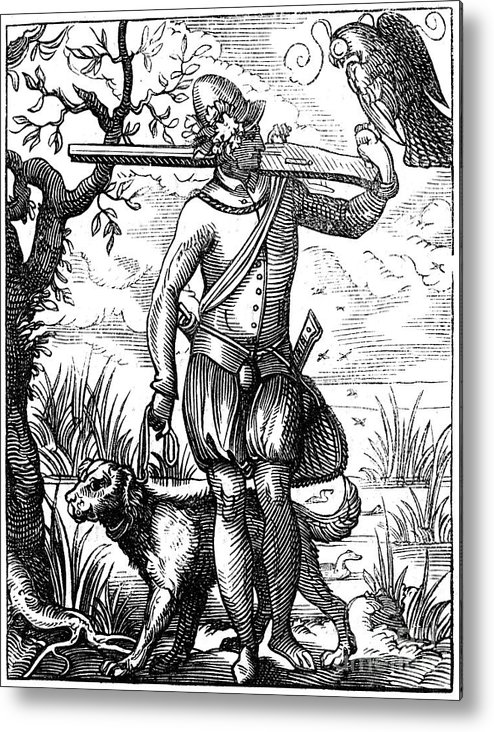 Engraving Metal Print featuring the drawing German Falconer, 16th Century by Print Collector