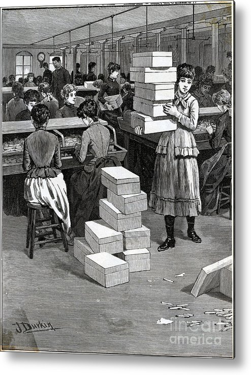 Working Metal Print featuring the photograph Girl Carrying Boxes Cigarette Factory by Bettmann
