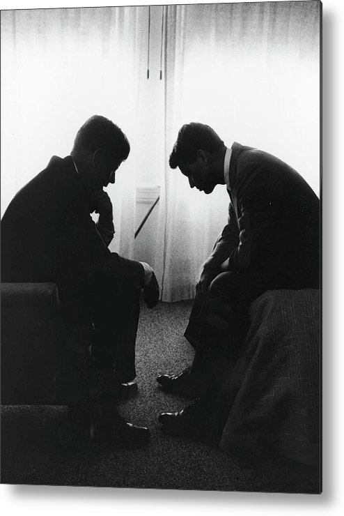 Timeincown Metal Print featuring the photograph John Kennedy Confers With Robert Kennedy by Hank Walker