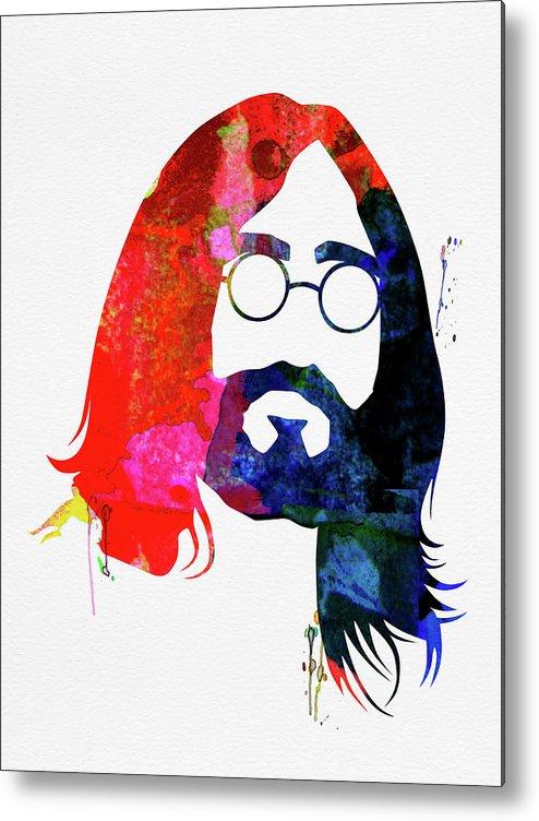 John Lennon Metal Print featuring the mixed media John Watercolor by Naxart Studio