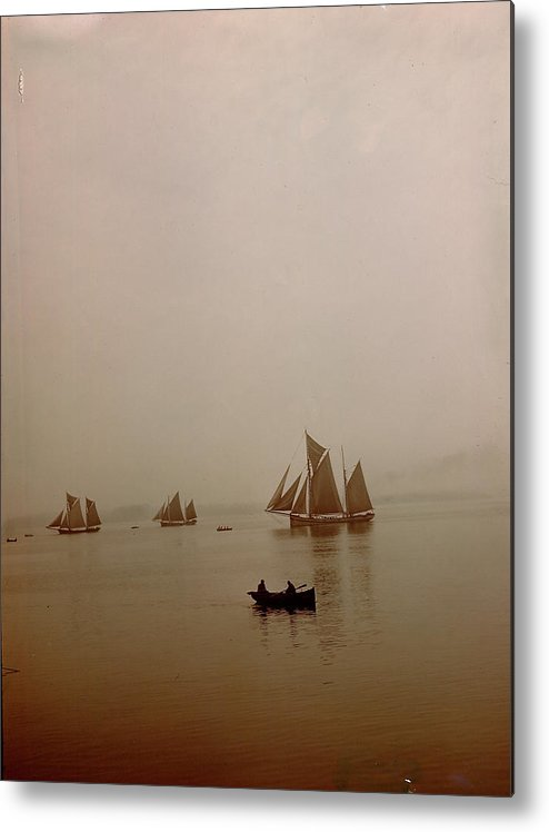 Tranquility Metal Print featuring the photograph Ketch-rigged Fishing Boats On Hazy by Eliot Elisofon