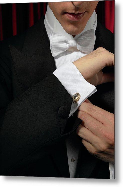 Adjusting Metal Print featuring the photograph Man Wearing Tuxedo, Adjusting Cufflink by Kelvin Murray