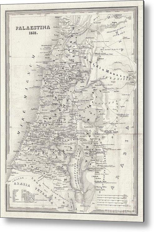 Etching Metal Print featuring the digital art Map Of Palestine, Steel Engraving by Zu 09