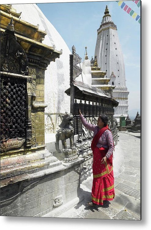 Part Of A Series Metal Print featuring the photograph Nepal, Bagmati, Kathmandu, Local Woman by Steve Allen
