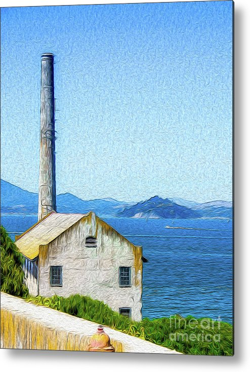 San Francisco Metal Print featuring the digital art Old Building at Alcatraz Island Prison by Kenneth Montgomery