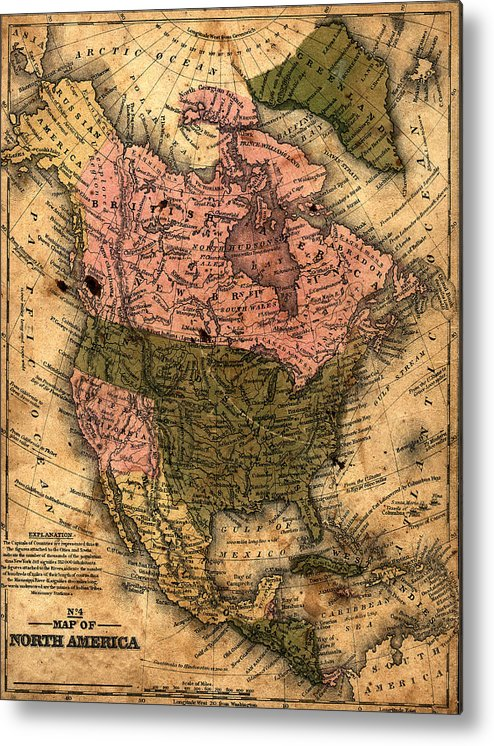 Outdoors Metal Print featuring the photograph Old North America Map by Belterz