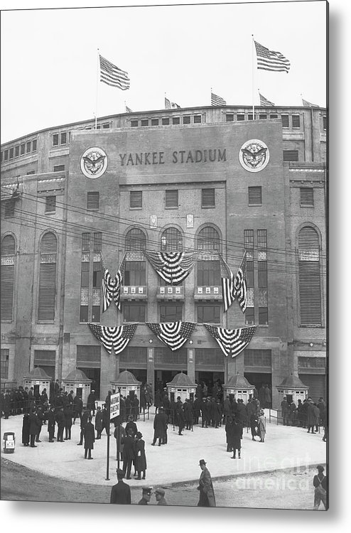 Crowd Of People Metal Print featuring the photograph Opening Day For Yankee Stadium In New by Bettmann