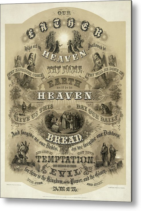 Our Father Metal Print featuring the painting Our Father Who Art In Heaven, 1876 by American School