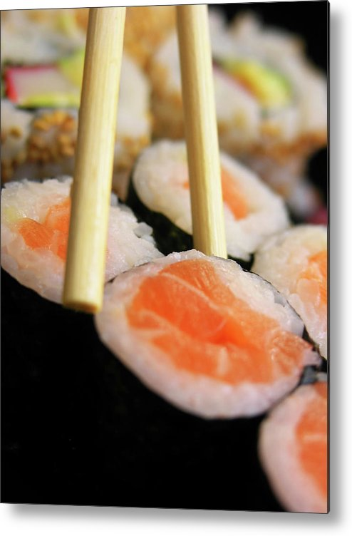 Japanese Food Metal Print featuring the photograph Picking Some Sushi by Caracterdesign