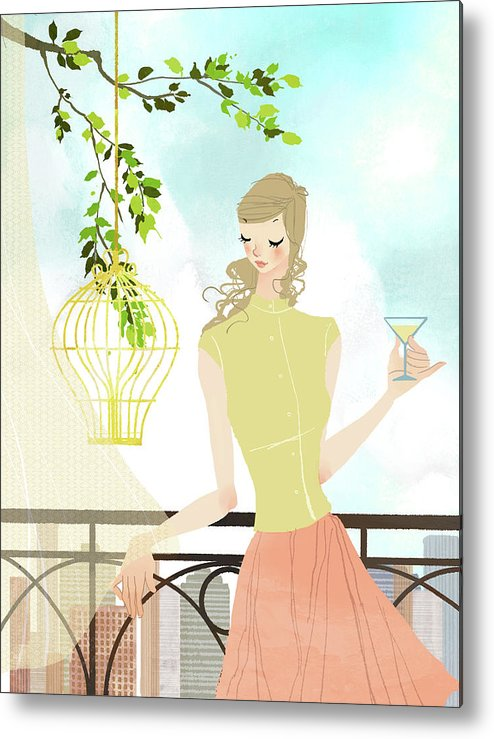 Tranquility Metal Print featuring the digital art Portrait Of Young Woman Holding by Eastnine Inc.